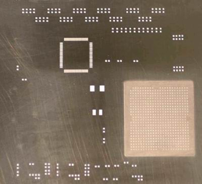 Example of step-up stencil for Ceramic BGA